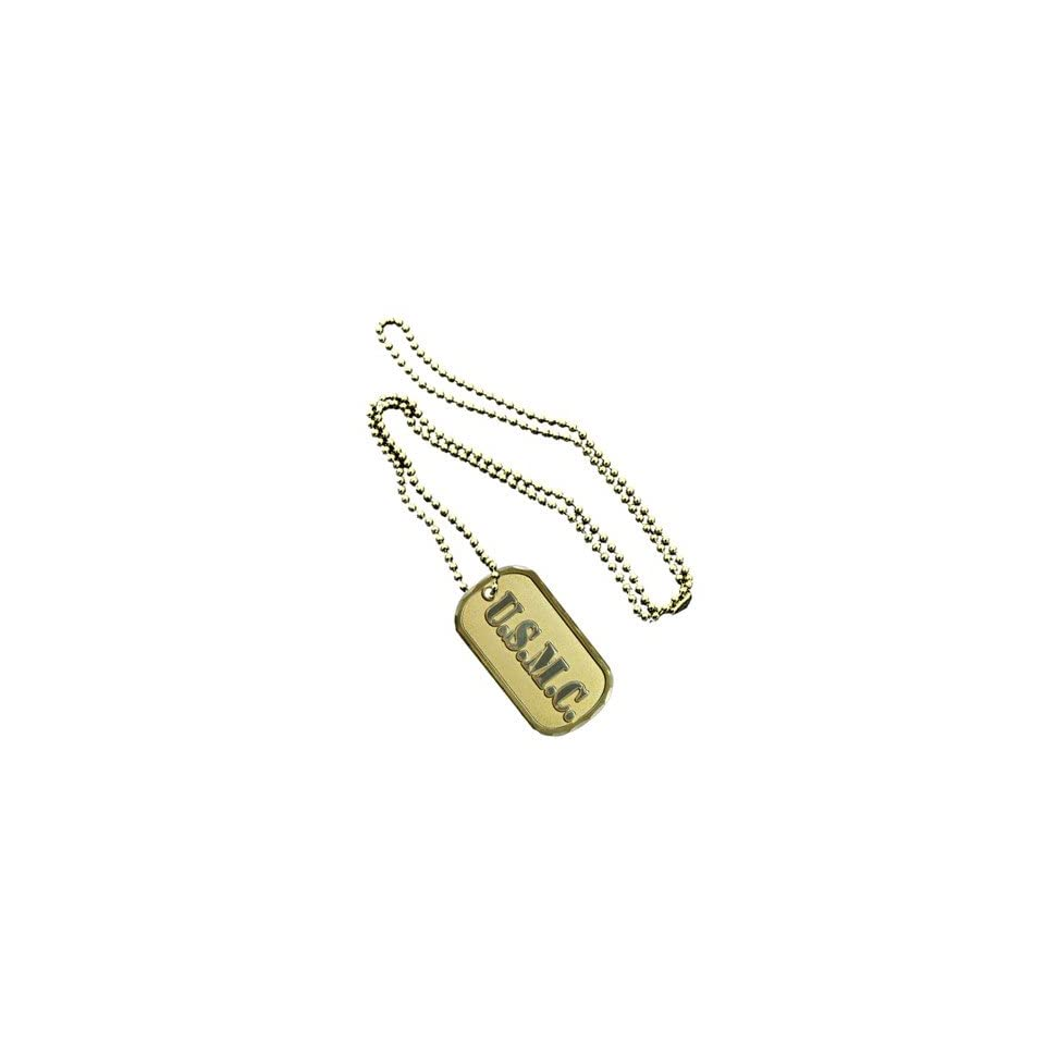 United States Armed Forces Division Usmc Marines Corp Name Dual Tone Logo Symbols   ALL Metal Military Dog Tag Luggage Tag Key Chain Metal Chain Necklace