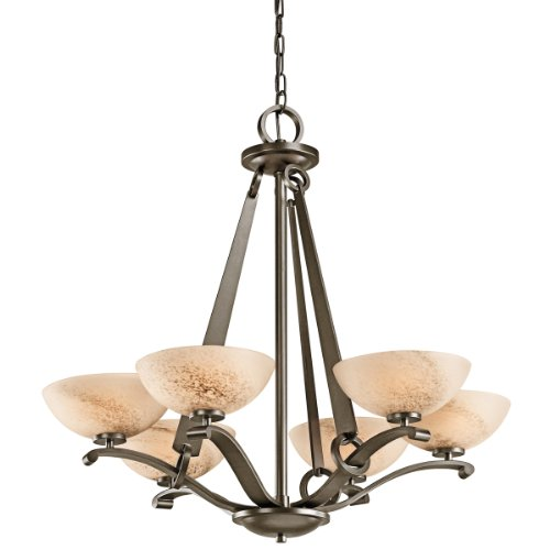 Inspirational Kichler Lighting SWZ Garland Light Chandelier Shadow Bronze with Umber Shadow Swirl Glass