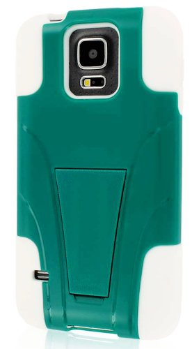 Mylife (Tm) Bright White And Teal Green - Neo Hybrid Series (Built In Kickstand) 2 Piece + 2 Layer Case For New Galaxy S5 (5G) Smartphone By Samsung (External Hard Fit Armor With Built In Kick Stand + Internal Soft Silicone Rubberized Flex Gel Bumper Guar