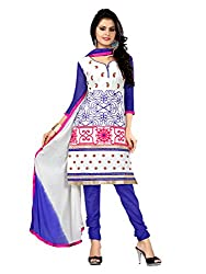 Idha White Semi-Stitched Embroidered Salwar Suit For Women