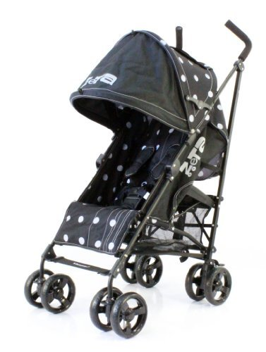 NEW BUGGY STROLLER PUSHCHAIR WITH LARGE SUN CANOPY HOOD - ZETA VOOOM - Black dots with Rain Cover