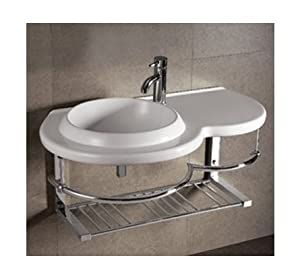 Isabella Large Round Bowl Bathroom Sink With Chrome Shelf And Towel Bar Pedestal Sinks