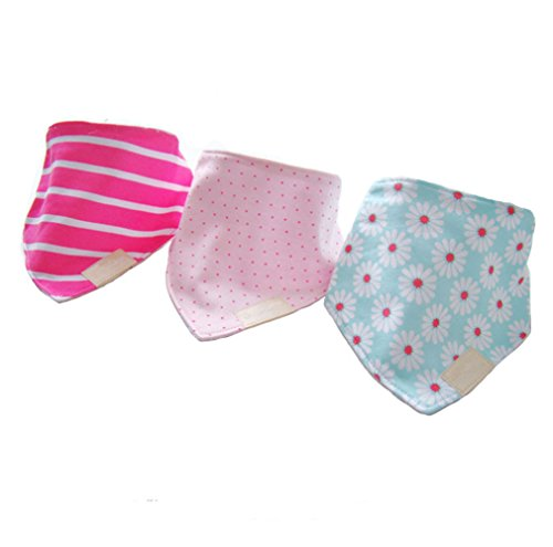 Carlyle 3pack Baby Bandana Drool Bibs with Snaps Chrysanthemum Baby Triangle Bandana Fancy Triangle Baby Bib (flower) - 1