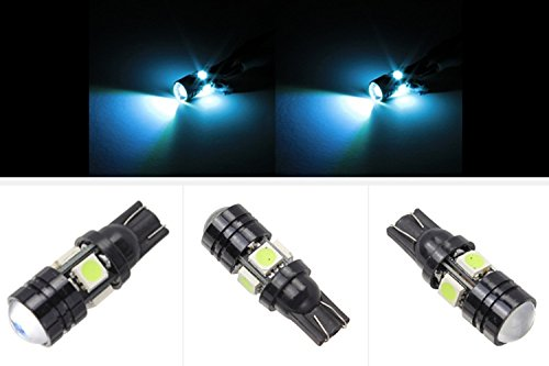 Hkbayi 2 X T10 Led W5W Car Led Auto Lamp 12V Light Bulbs With Projector Lens For Ford Focus Cruze Tiguan Interior Packing Car Styling (Ice Blue)