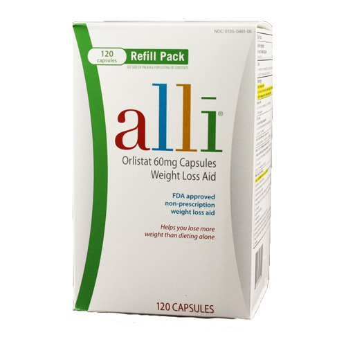Alli Weight-Loss Aid, Orlistat 60mg Capsules, 120-Count Refill Pack