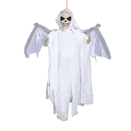 Elevin(TM) New Halloween Party Decoration Sound Control Creepy Scary Animated Skeleton Hanging Ghost (White)