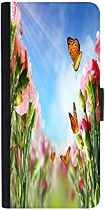 Snoogg Butterfly On Flowers Designer Protective Flip Case Cover For Samsung G...