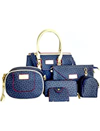 Di Grazia Women's 6 In 1 Combo Of Shoulder Bag, Sling Bag ,Clutch, Wallet, Card Holder & Pouch Handbag (Blue,...