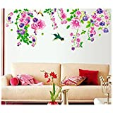 Decals Arts Waterproof Flowers Butterflies Tree Birds Wall Stickers