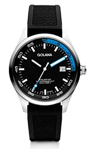 Golana Aqua Three Hands Men's Quartz Watch with Multicolour Dial Analogue Display and Black Rubber Strap AQ400-3