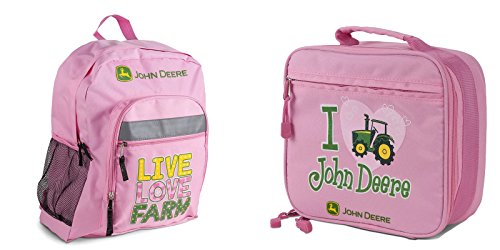 John Deere Girls Pink Backpack and Lunch Bag