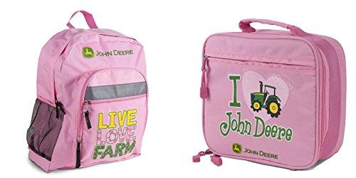 John Deere Girls Pink Backpack and Lunch Bag