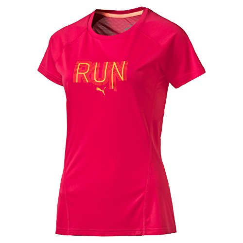 Puma T-shirt da donna Run a maniche corte W, Donna, T-Shirt Run Short Sleeve Tee W, rosa rosso, M