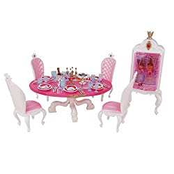 Imported Doll House Miniature Furniture Dining Table w/ Cupboard Set For Barbie