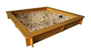 Garden Games Limited Square Wooden Sandpit with PVC Cover and Underlay