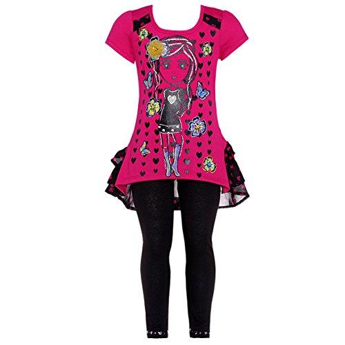 Fuchsia Black Heart Glitter Girl Legging 2 Pc Outfit Girls 4 front-830890