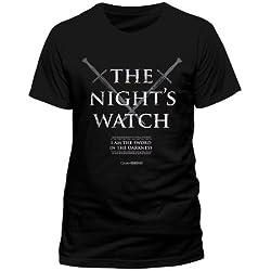 Producto oficial de T-camiseta de manga corta de juego de nieve reloj de mujer con Jon de Juego de Tronos NIGHTS todos los tamaños