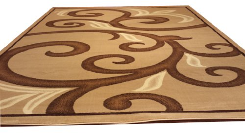 D612 Contemporary Modern Transitional Branch Leaves Design Beige Brown 5x8 Actual Size 5'3x7'2 Rug