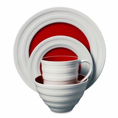 Isaac Mizrahi Caribbean Color 16-Piece Dinnerware Set, Pomegranate