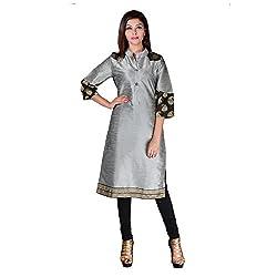 Sarvottam Chanderi silk kurta with bell sleeves P00004