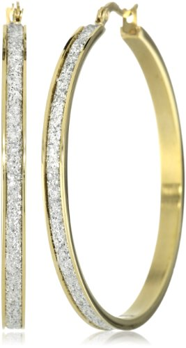 18k Gold Plated Stainless Steel Glitter Hoop Earrings (50mm Diameter)