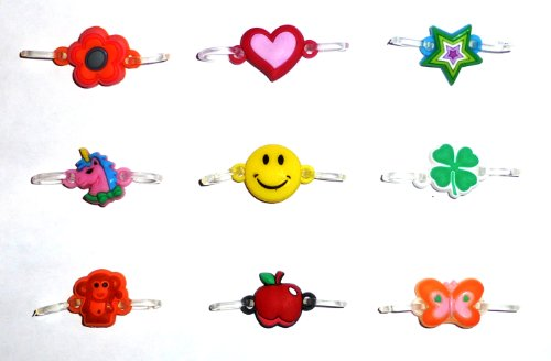 2-Clip Connector Charms for Rainbow Loom Bracelets (Pack of 9)