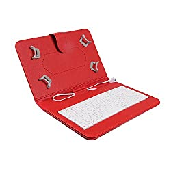 Colorkart Keyboard Case For 7 inch Lava Etab Xtron With In-Built Keyboard & Micro USB Cable (Synthetic Leather, Red)