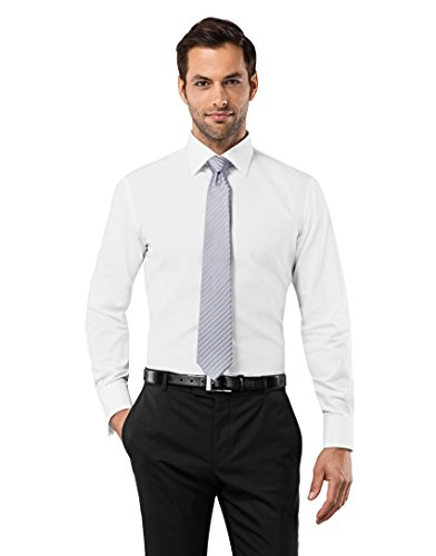 Vincenzo Boretti Men's Shirt Slim Fit Double Cuff Uni Non Iron,white,15.75