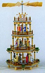 Colorful Nativity German Christmas Pyramid 4-tier from Pinnacle Peak