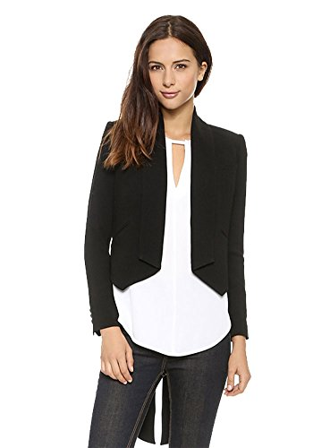 My Wonderful World Women's Long Sleeve Welt Pocket Split Open Front Tuxedo Suits