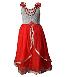 Motley Girls' Dress (7-8-M039_7-8 Years_Red _7-8 Years)