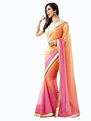 INDIAN STYLES LIGHT ORANG PINK WEIGHTLESS PEDDING JORJET SAREE