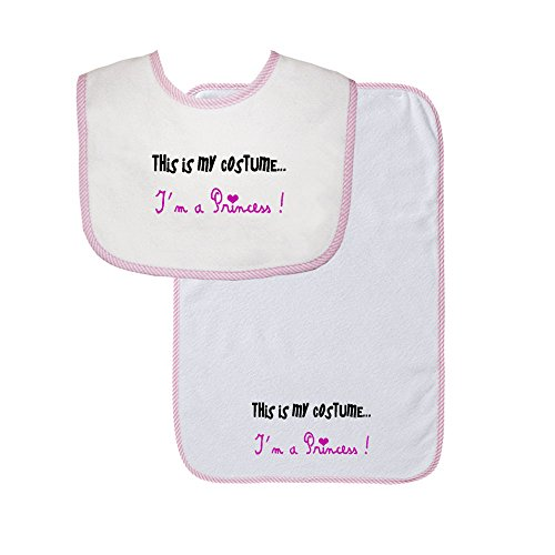 This Is My Costume I'm A Princess Soft Terry Cotton Baby Bib & Burp Cloth Set