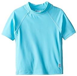 i play. Baby Short Sleeve Rashguard Shirt, Aqua, 12 Months