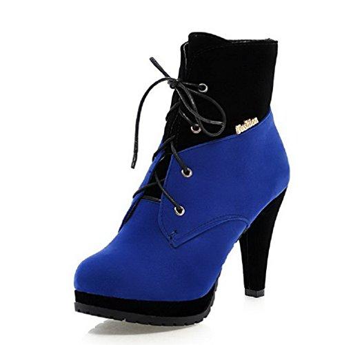 VogueZone009 Donna Punta Tonda Tacco Alto Bassa Altezza Colore Assortito Stivali con Metallo, Azzurro, 39