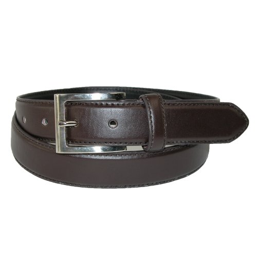 CTM® Mens Leather 1 1/4 Inch Basic Dress Belt with Silver Buckle, 42, Brown