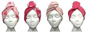 Turbie Twist Hair Towels Cotton (4 Pack) Pink Heart / Solid