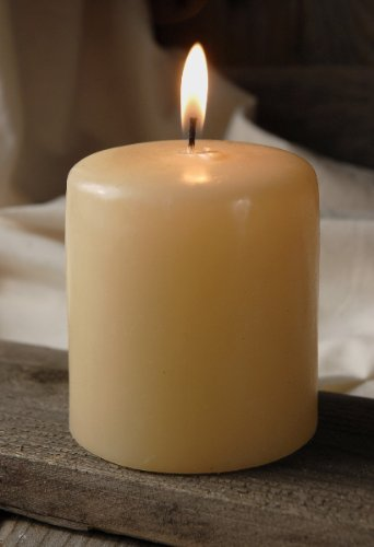 Vanilla Pillar Candle 3x3 Unscented Set of 1 Burn Time 50 Hours