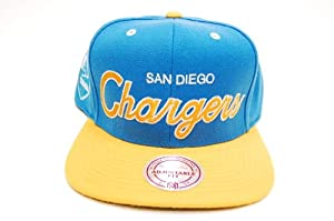 Mitchell & Ness San Diego Chargers NFL Script 2 Tone Snapback Cap Hat M&N... by Mitchell & Ness