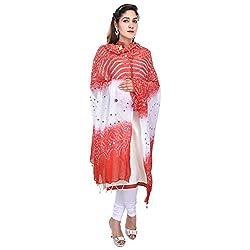 Soundarya Red White Bandhej Cotton Hand Work Dupatta