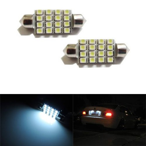 """Ijdmtoy 16-Smd 1.60"""" 39Mm 6418 C5W Led License Plate Light Bulbs, Xenon White"""