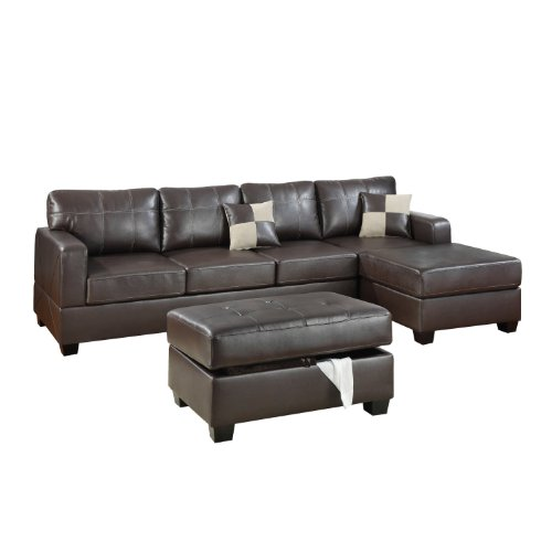 Buying bobkona wilder 3 piece bonded leather reversible for Bobkona sectional sofa with ottoman