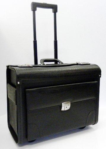 Mens Womens Wheeled Black Executive Business Laptop Travel Pilot Bag Briefcase