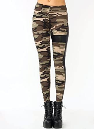 Faux Leather Inset Camo Leggings