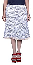 Pezzava Beautiful Cotton Printed White M.Skirt
