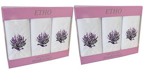 2-Packungen-Mit-3-FrauenDamen-Weie-Taschentcher-Mit-Lila-Lavendel-Stickerei-100-Baumwolle