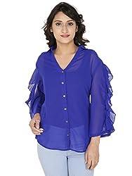 Gugg Women's Self Design SHIRT [GS16A71_BLUE]