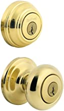 Kwikset 991 Juno Entry Knob and Single Cylinder Deadbolt Combo Pack featuring SmartKey® in Polished Brass