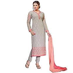 Momai Creation Women's Faux Georgette Grey Unstitched Dress Material (MCV-Prachi-1005)