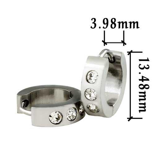 Pugster Clear Crystal Stainless Steel Mens Huggie Hoop Earrings